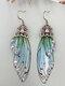 Vintage S925 Sterling Silver Butterfly Long Cicada Wings Gradient Earrings - 9