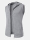 Mens Pure Color Cotton Casual Sleevless Hooded Vests With Pocket - Gray