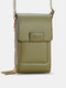 Multi-slots Flap Magnetic Button Stitch Detail Multi-pockets Touch Screen On The Back 7 Inch Phone Bag - Green
