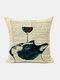 Animal Head Wine Glass Pattern Linen Cushion Cover Home Sofa Art Decor Throw Pillowcase - #06