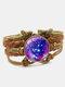 Vintage Galaxy Starry Sky Pattern Butterfly Geometric Shape Hand-braided Glass PU Alloy Multi-layer Bracelet - #07