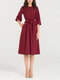 Solid Color O-neck Plus Size Casual Dress for Women - Wine Red