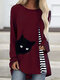Cartoon Cat Striped Patchwork O-neck Long Sleeve T-shirt - Wine Red