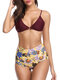 Women Sexy Swimwear Printed Triangle High Waist Backless Bikinis