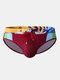メンズセクシープリントパッチワークドローストリングクイックドライスイムウェアブリーフ - 赤