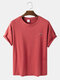 Mens Solid Color Breathable & Light Casual O-Neck T-Shirts - Red