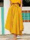 تنورة سادة اللون بأربطة بسحاب جانبي غير متناظرة - الأصفر