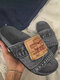 Women Summer Daily Solid Color Denim Casaul Beach Slides Slippers - Gray