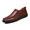 Men Hand Stitching Sfot Leather Non Slip Sole Comfy Slip-on Casual Driving Shoes - Red Brown