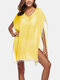 Women Solid Color V-Neck Tassel Sun Protection Cover Up - Yellow