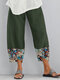Fish Printed Patchwork Pockets Elastic Waist Pants With Pockets For Women - Army Green