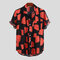 Mens Summer Hit Color Printing Chest Pocket Turn Down Collar Short Sleeve Shirts