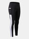 Women Patchwork Breathable Quick Drying Skinny High Elastic Sports Yoga Pants With Side Pocket - White