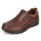 Men Hand Stitching Microfiber Leather Splicing Soft Casual Slip On Shoes - Coffee
