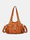 Frauen Vintage Soft Leder Umhängetasche Handtasche Tote - braun