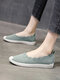 Women Casual Breathable Elastic Band Solid Knitted Flats - Green