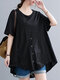 Solid Button Front High-low Short Sleeve Plus Size Casual T-shirt - Black