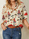 Mushroom Print Lapel Half Sleeve Blouse For Women - Apricot