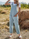 Plain Knotted Pocket Sleeveless Casual Cami Jumpsuit For Women - Blue