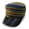 Women Winter Vogue Cotton Leather Military Style Hat Outdoor Stripe Cadet Army Cap Flat Top Hat - #3