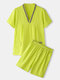 Plus Size Women V-Neck Solid Color Cotton Sauna Clothes With Pocket - Green