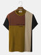 Mens Knit Color Block Patchwork Letter Pattern Loose Short Sleeve T-Shirts - Yellow