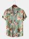 Masculino Classical Óleo Imprimir Folha camisas de manga curta com gola virada para baixo - Verde