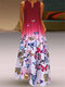 Butterfly Printed Ombre Patchwork V-neck Maxi Dress - Red