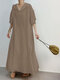 Casual Solid Color Drawstring Long Sleeve Hooded Maxi Plus Size Dress - Khaki
