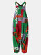 Patchwork Polka Dot Print Button Straps Jumpsuit With Pocket - Green