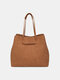 Classic Solid Large Capacity All-Match Matte Fabric Tote - Brown