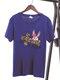 Women Easter Animal Cross Letters Print Short Sleeve O-neck T-Shirt - Enamel Blue