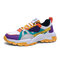 Men Stylish Color Blocking Lace-up Round Toe Chunky Sneaker Shoes - Yellow