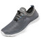 Men Breathable Mesh Fabric Lace-up Round Toe Casual Walking Shoes - Dark Gray