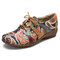 SOCOFY Paisley Textile Splicing Folkways Style Cloth Round Toe Lace Up Flat Shoes - Green