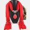 Bohemian Dacron Multi-layer Necklace Handmade Teardrop Pendant Tassel Women Scarf Shawl Necklace - 07