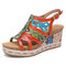 SOCOFY Leather Contrast Cutout Strappy Snakeskin Print Buckle Slingback Wedge Sandals Espadrilles - Orange