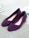Women Casual Jelly Pointed Toe Gingham Block Heels Loafers - Purple