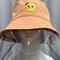 Children's Embroidery Fisherman Hat Transparent Dustproof Hat - Orange