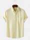 Mens Pinstripe Light Casual Short Sleeve Shirts With Pocket - Yellow