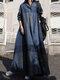 منقوشة طباعة طية صدر السترة طويلة الأكمام زر Plus فستان ماكسي مع جيوب - القوات البحرية