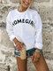Casual Letter Print O-neck Long Sleeve Plus Size Sweatshirt for Women - White