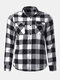 Mens Cotton Dual Pocket Long Sleeve Check Shirt - Black