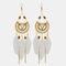 Bohemian Metal Tassel Stripe Beads Earrings Vintage Long Feather Dangle Earrings Women Gift - White