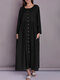 Solid Color Button Pocket Long Sleeve Casual Dress for Women - Black
