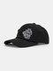 Unisex Cotton Broken Hole Letters Embroidery All-match Sunshade Baseball Cap - Black