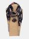 Vintage Chiffon Tassel Women Scarf Necklace Geometric Pendant Flower Leaf Pattern Shawl Necklace - #11