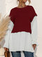Stitch Fake 2PCS O-neck Long Sleeve Blouse for Women - Wine Red
