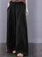 Embroidered Elastic Waist Wide-leg Plus Size Pants With Pockets - ブラック