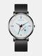 Alloy Steel Business Casual Mesh Belt Calendar Mens Quartz Watch - White+Black.